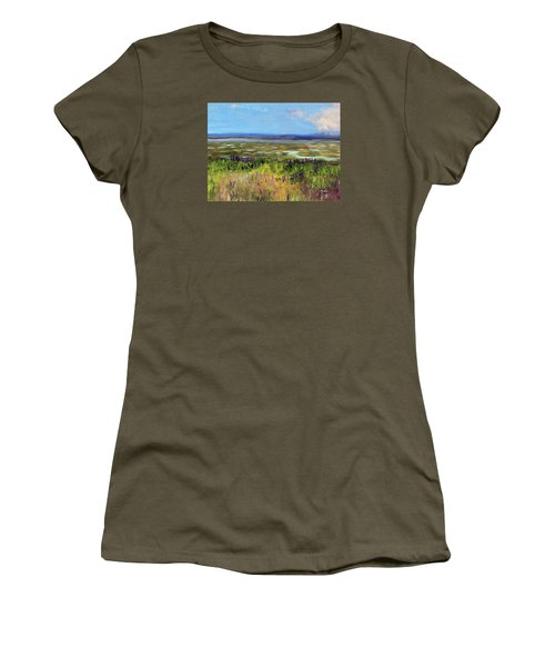 Women's T-Shirt (Junior Cut) featuring the painting Lupine Of Fort Hill by Michael Helfen