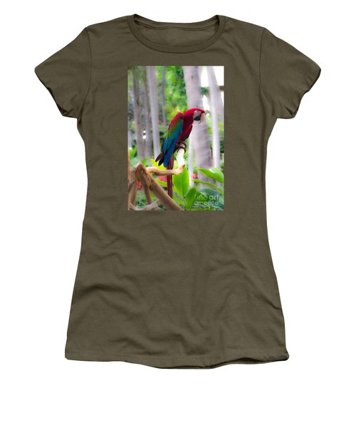Women's T-Shirt (Junior Cut) featuring the photograph Macaw by Angela DeFrias