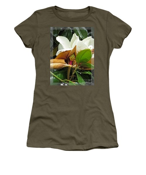 Women's T-Shirt (Junior Cut) featuring the photograph Magnolia Flowers - Flower Of Perseverance by Ella Kaye Dickey