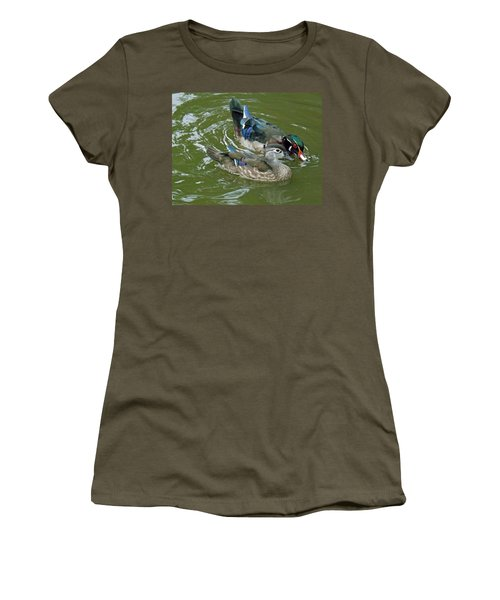 Male And Female Wood Ducks Women's T-Shirt (Junior Cut) by Brenda Brown