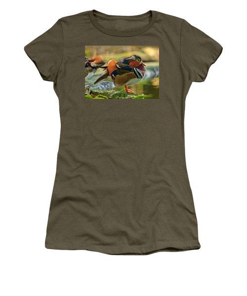 Male Mandarin Duck On A Rock Women's T-Shirt (Junior Cut) by Eti Reid