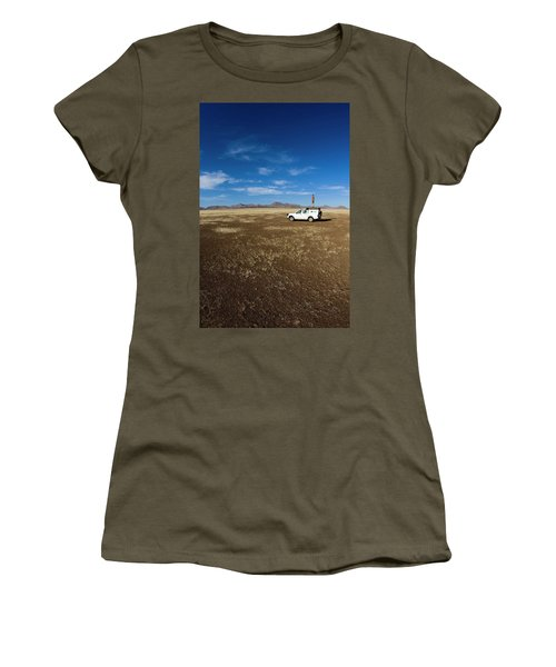 Male Standing On Top Of Expedition Women's T-Shirt