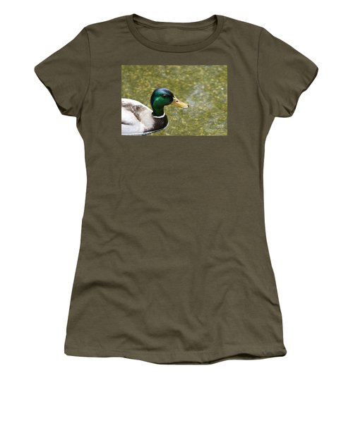 Women's T-Shirt (Junior Cut) featuring the photograph Mallard Duck Closeup by David Millenheft