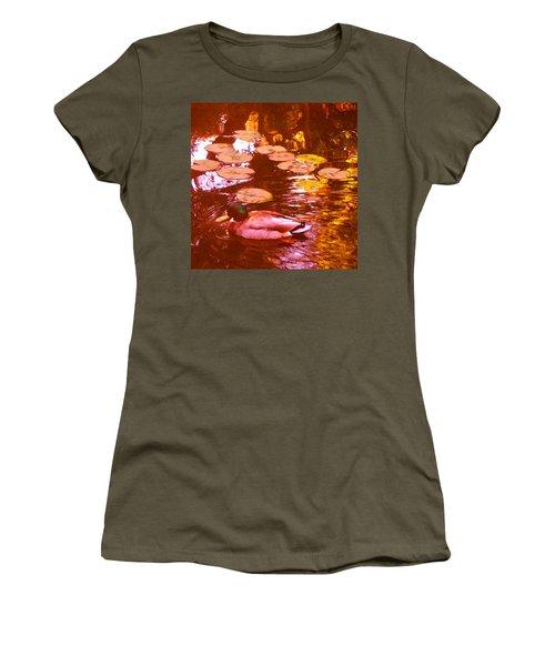 Mallard Duck On Pond 3 Square Women's T-Shirt