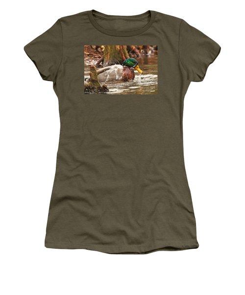 Mallard Duck Taking Bath Women's T-Shirt (Athletic Fit)
