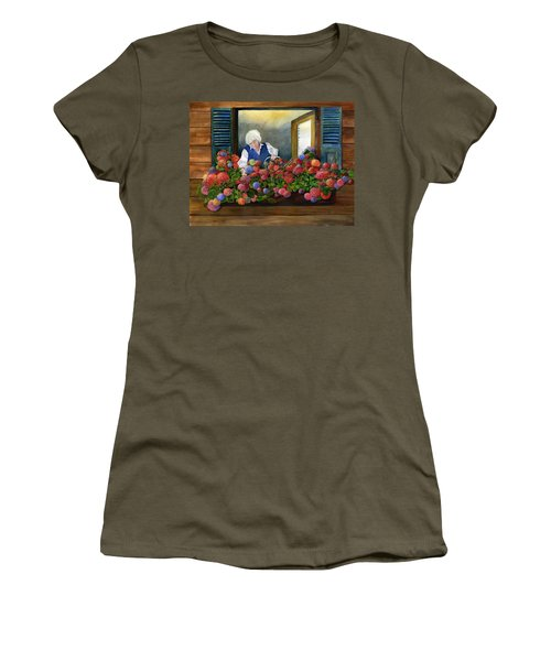 Mama's Window Garden Women's T-Shirt (Athletic Fit)