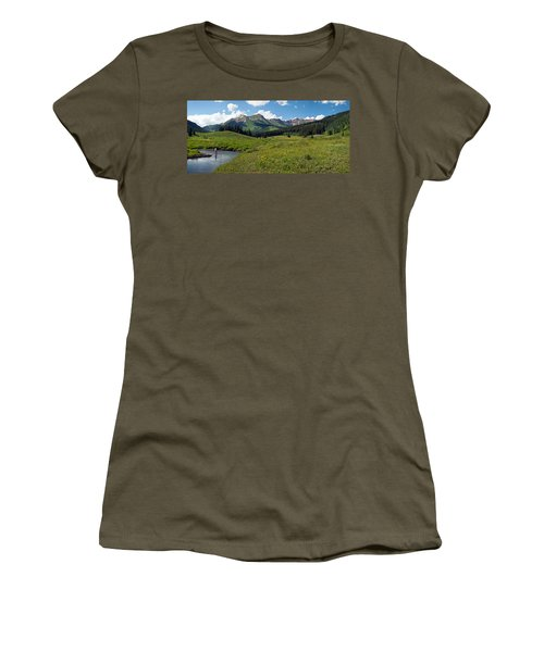 Man Fly-fishing In Slate River, Crested Women's T-Shirt (Athletic Fit)