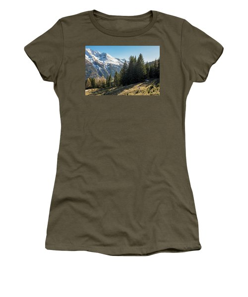 Man Trail Running In The Mountains Women's T-Shirt