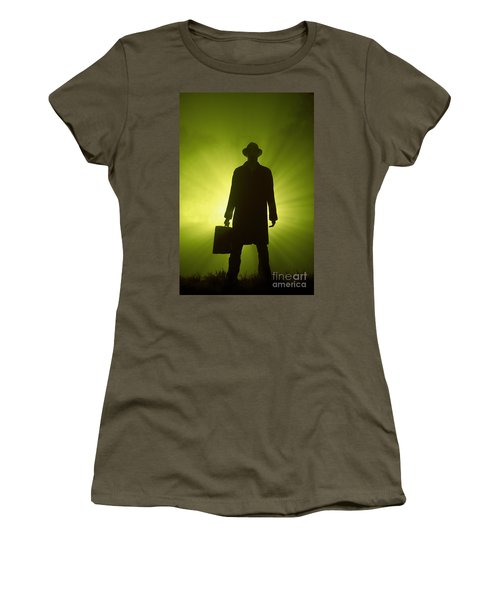 Women's T-Shirt (Junior Cut) featuring the photograph Man With Case In Green Light by Lee Avison