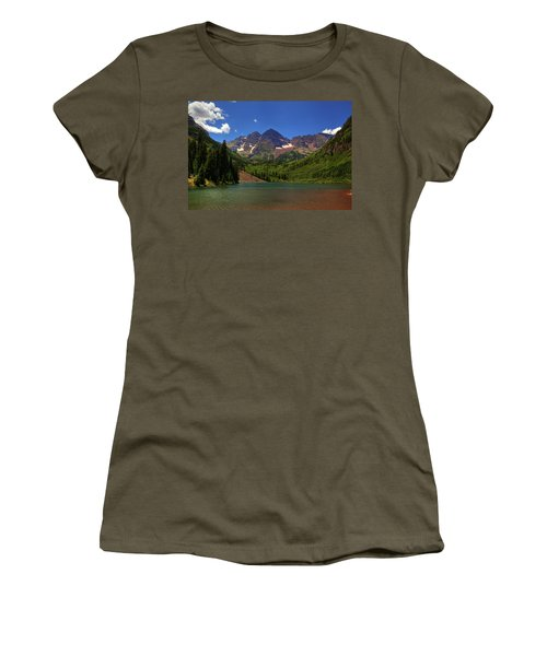 Women's T-Shirt (Junior Cut) featuring the photograph Maroon Bells From Maroon Lake by Alan Vance Ley