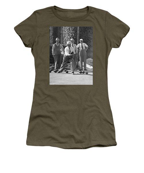 Men Playing Bocce Ball Women's T-Shirt