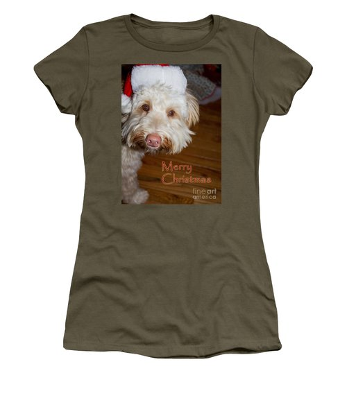 Merry Christmas From A Labrdoodle Card Women's T-Shirt (Athletic Fit)