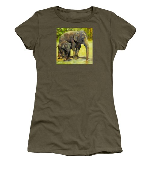 Thirsty, Methai And Baylor, Elephants  Women's T-Shirt (Athletic Fit)