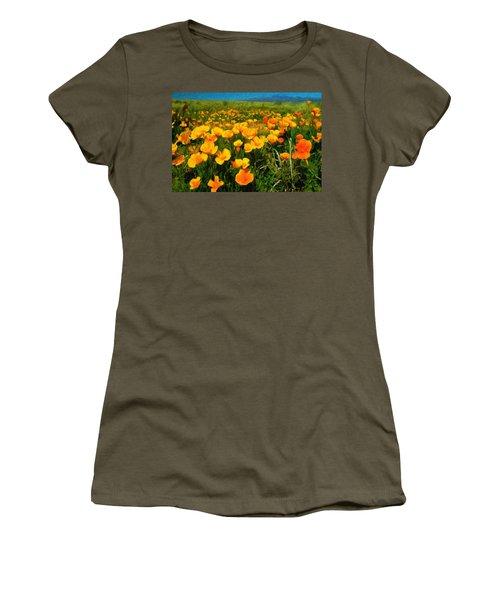 Women's T-Shirt (Junior Cut) featuring the digital art Mexican Poppies by Chuck Mountain