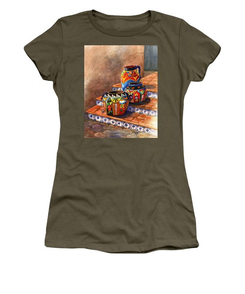 Mexican Pottery Still Life Women's T-Shirt (Junior Cut) by Marilyn Smith