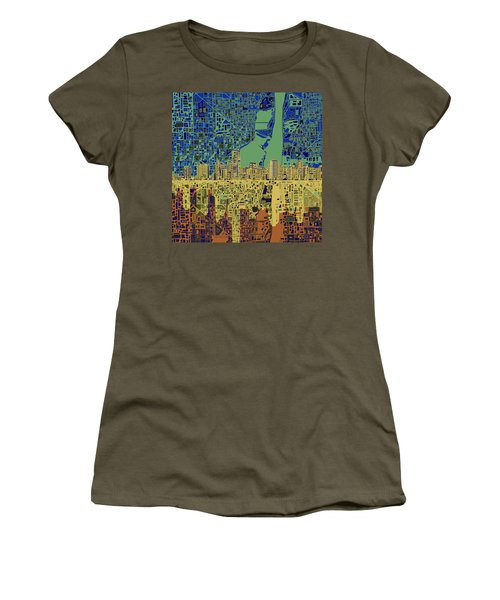 Miami Skyline Abstract 7 Women's T-Shirt (Athletic Fit)