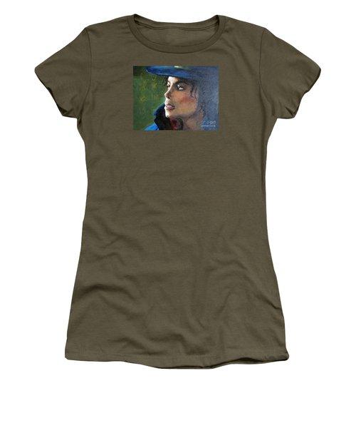 Women's T-Shirt (Junior Cut) featuring the painting Michael Joseph Jackson by Jieming Wang