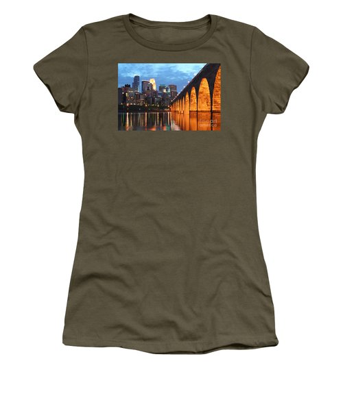 Minneapolis Skyline Photography Stone Arch Bridge Women's T-Shirt