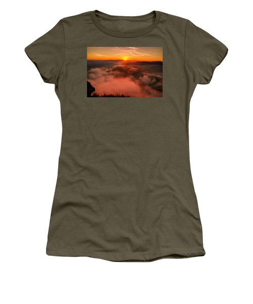 Misty Sunrise On The Lilienstein Women's T-Shirt