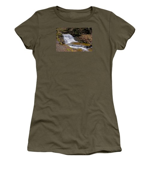 Mohican Falls In Spring Women's T-Shirt (Junior Cut) by Shelly Gunderson