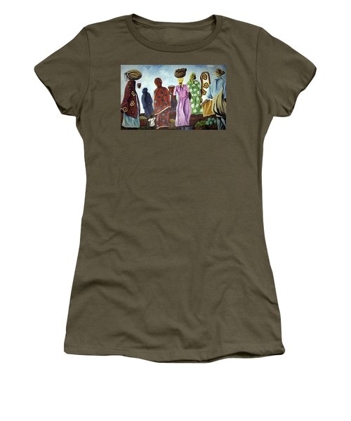 Women's T-Shirt (Junior Cut) featuring the painting Mombasa Market by Sher Nasser
