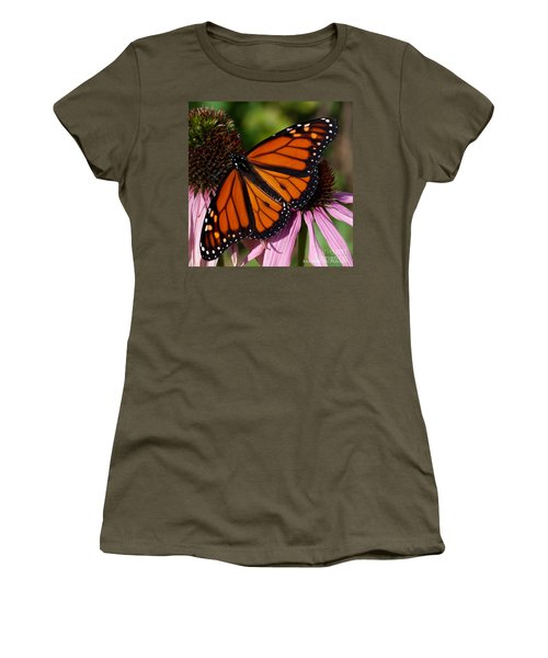 Women's T-Shirt (Junior Cut) featuring the photograph Monarch On Purple Coneflower by Barbara McMahon