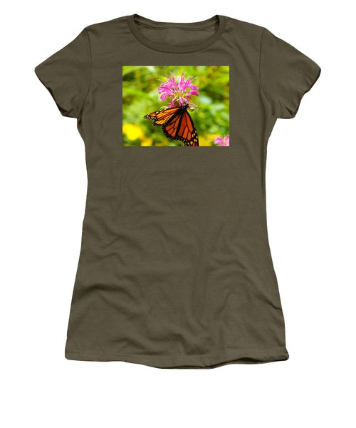 Monarch Under Flower Women's T-Shirt (Athletic Fit)