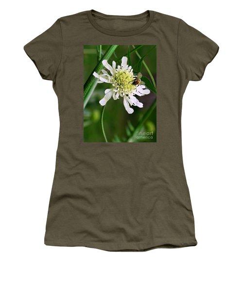 Women's T-Shirt (Junior Cut) featuring the photograph Monet's Garden Bee. Giverny by Jennie Breeze