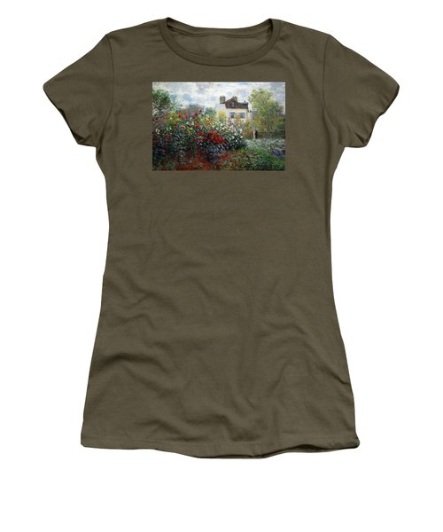 Women's T-Shirt (Junior Cut) featuring the photograph Monet's The Artist's Garden In Argenteuil  -- A Corner Of The Garden With Dahlias by Cora Wandel