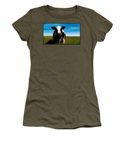 Women's T-Shirt (Junior Cut) featuring the digital art Moo... by Tim Fillingim