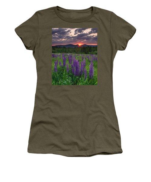 Moody Sunrise Over Lupine Field Women's T-Shirt
