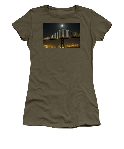 Women's T-Shirt featuring the photograph Moon Atop The Bridge by Kate Brown