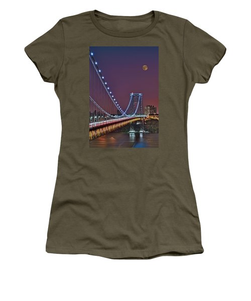 Moon Rise Over The George Washington Bridge Women's T-Shirt