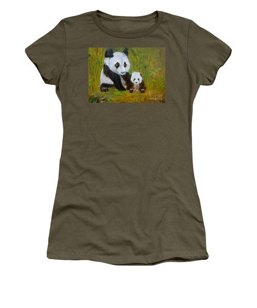 Women's T-Shirt (Junior Cut) featuring the painting Mother And Baby Panda by Jenny Lee