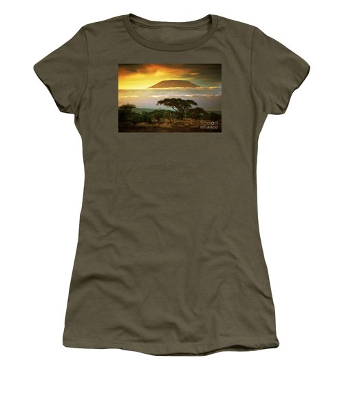 Mount Kilimanjaro Savanna In Amboseli Kenya Women's T-Shirt (Athletic Fit)