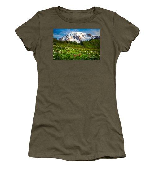 Mount Rainier Flower Meadow Women's T-Shirt