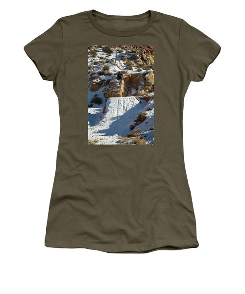 Mountain Biker Jumping With Snowy Women's T-Shirt