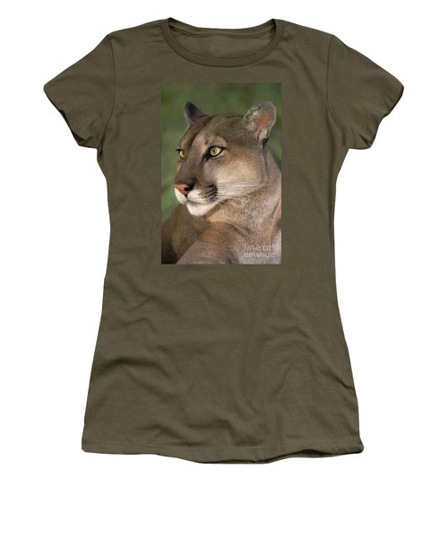 Mountain Lion Portrait Wildlife Rescue Women's T-Shirt (Athletic Fit)