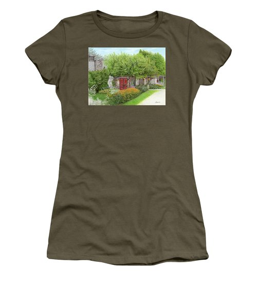 Women's T-Shirt (Junior Cut) featuring the painting Mountain Playhouse Jennerstown Pa by Albert Puskaric