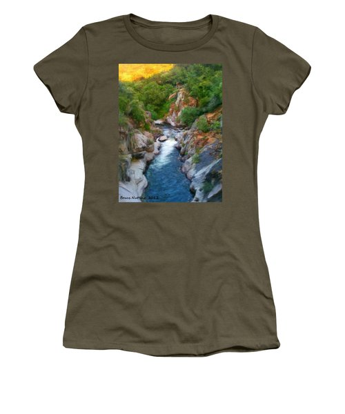 Women's T-Shirt (Junior Cut) featuring the painting Mountain Stream by Bruce Nutting