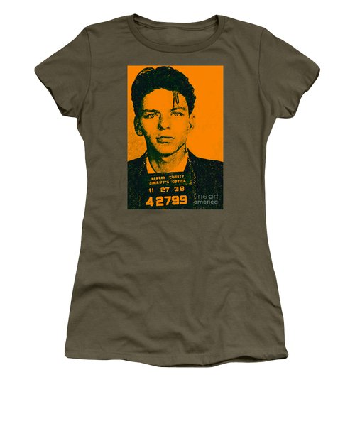 Women's T-Shirt featuring the photograph Mugshot Frank Sinatra V1 by Wingsdomain Art and Photography