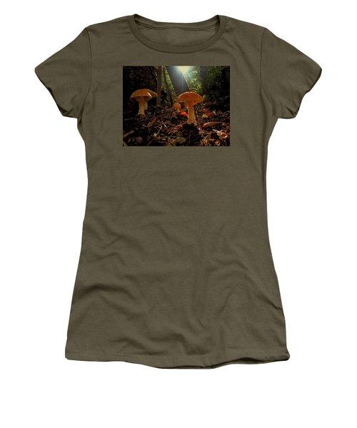 Women's T-Shirt (Junior Cut) featuring the photograph Mushroom Morning by GJ Blackman