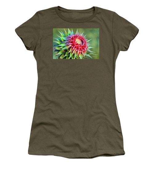 Women's T-Shirt (Junior Cut) featuring the photograph Musk Thistle by Teresa Zieba