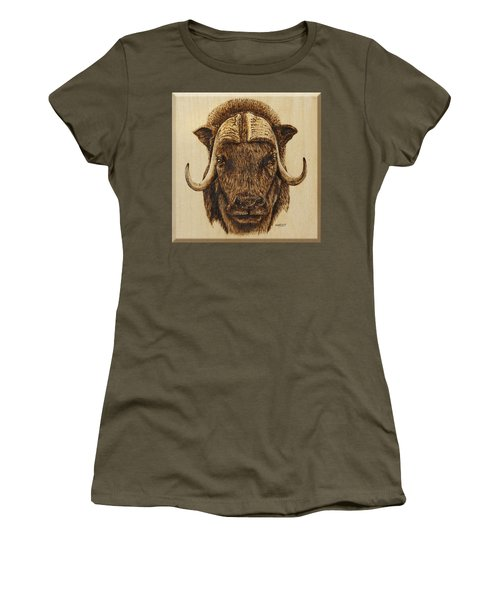 Women's T-Shirt (Junior Cut) featuring the pyrography Muskox by Ron Haist