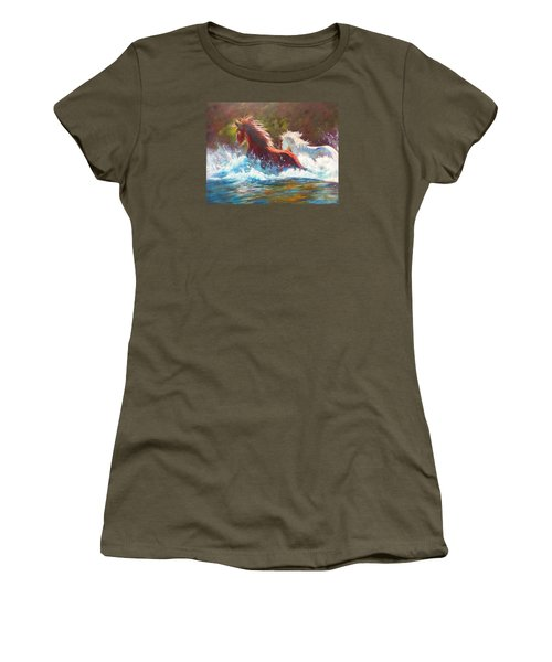 Women's T-Shirt (Junior Cut) featuring the painting Mustang Splash by Karen Kennedy Chatham
