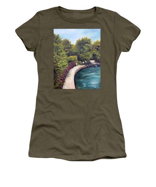 Women's T-Shirt (Junior Cut) featuring the painting Naperville Riverwalk II by Debbie Hart