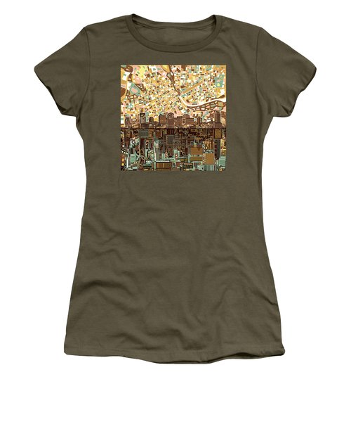 Nashville Skyline Abstract 4 Women's T-Shirt (Junior Cut) by Bekim Art