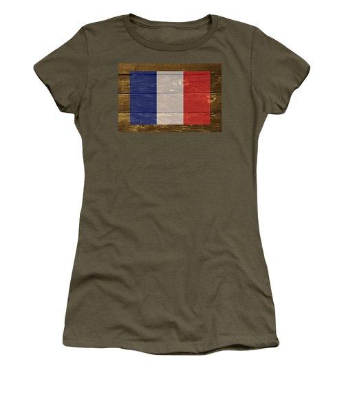 France National Flag On Wood Women's T-Shirt