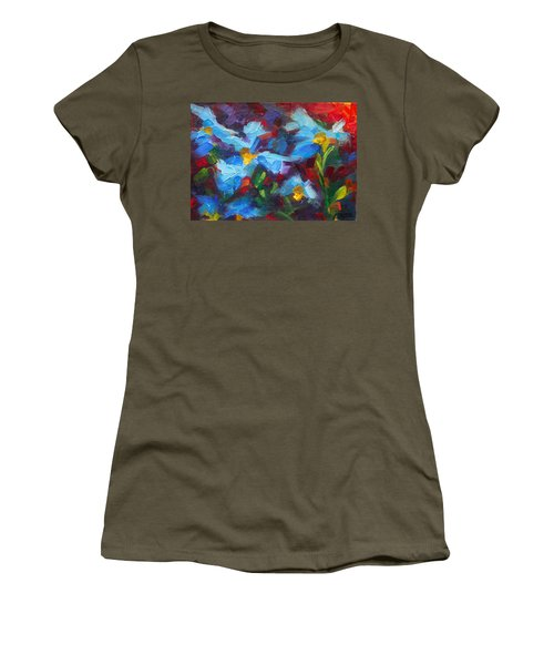 Nature's Palette - Himalayan Blue Poppy Oil Painting Meconopsis Betonicifoliae Women's T-Shirt