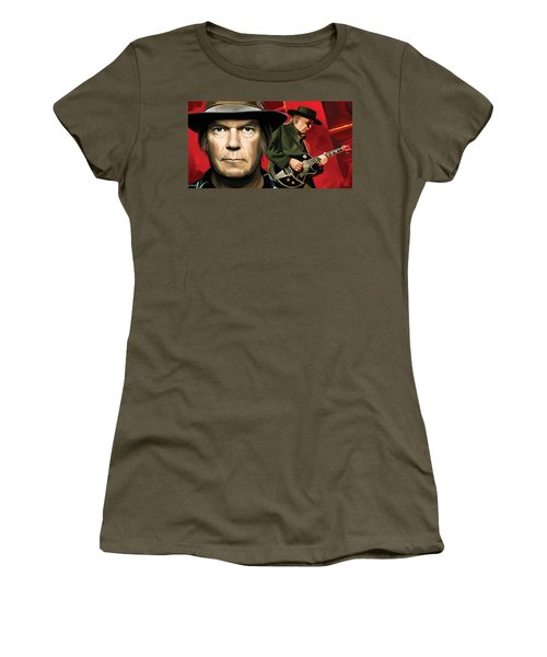Neil Young Artwork Women's T-Shirt (Athletic Fit)